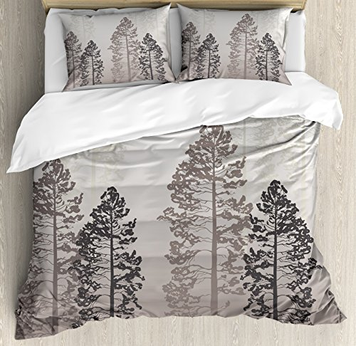 Ambesonne Country Duvet Cover Set Queen Size, Pine Trees in the Forest on Foggy Seem Ombre Backdrop Wildlife Adventure Artwork, Decorative 3 Piece Bedding Set with 2 Pillow Shams, Warm Taupe