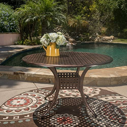 Augusta Home Sebastian Outdoor Cast Aluminum Round Dining Table