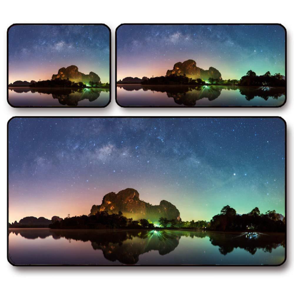 Tzsysb Alfombrilla de cielo ráton estrellada del cielo de del banco del río que cierra la estera teclado acolchada de gran tamaño del juego e76ed2