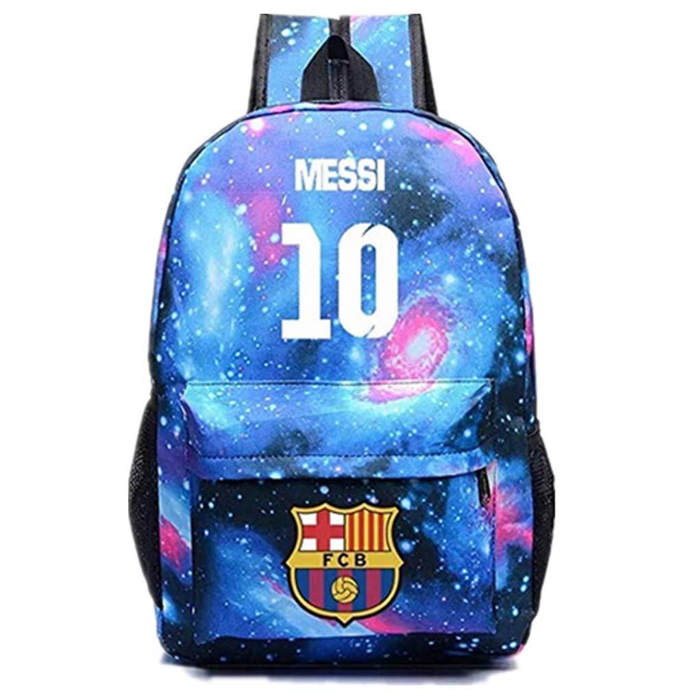 Barcelona Fans Backpack - Lionel Messi #10 Barcelona Rucksack for Back to School Noctilcent Bag (Galaxy Blue)