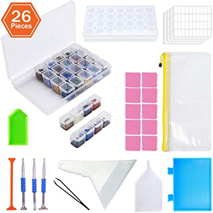 KOTWDQ 26 Pieces 5D Diamond Painting Tools and Accessories Cross Stitch Kits with Diamond Painting Fix Tools and 2pack 28 grids Diamond Embroidery Storage Box for Adults or Kids