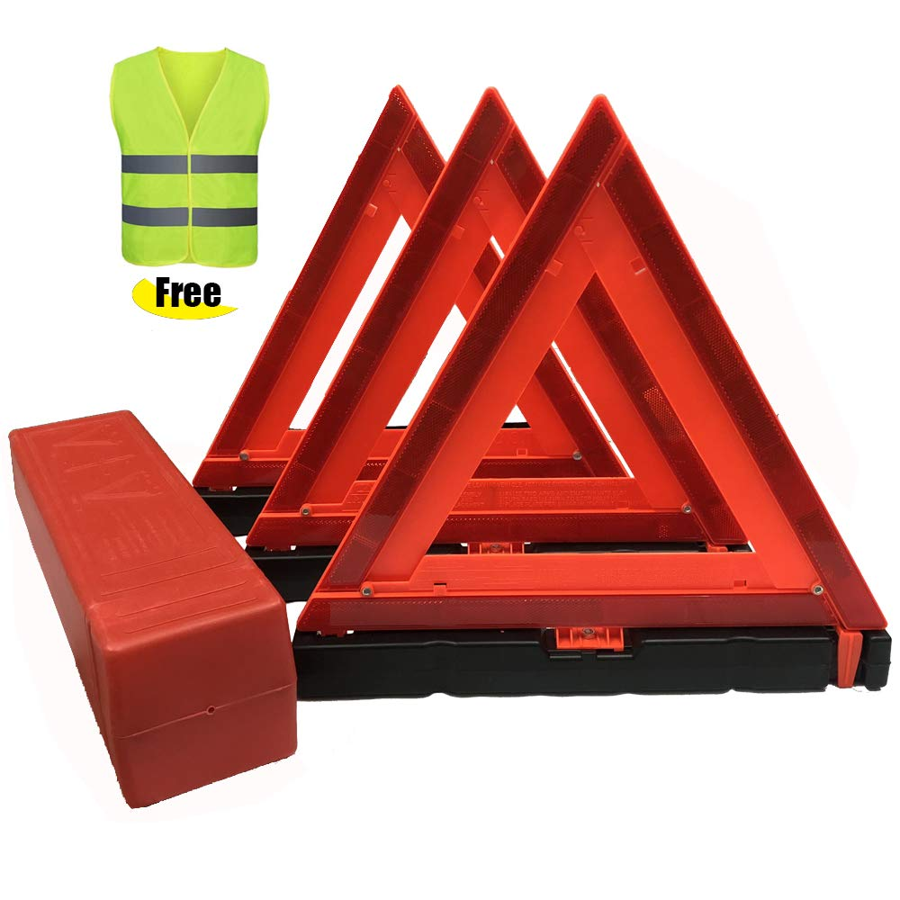 PETJAY Warning Triangle DOT Approved 3PK,Safety Reflective Vest Emergency Roadside Triangle