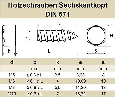 DERING Sechskant Holzschrauben M10x80 DIN 571 Edelstahl A2 Holzschraube rostfrei | Schl/üsselschrauben Holz Schrauben 30 St/ück
