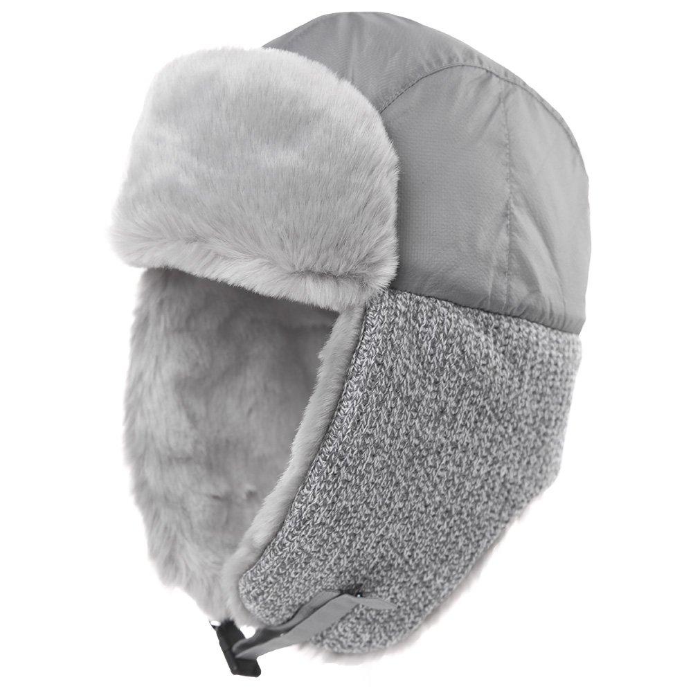 ef2549fb700 Galleon - SIGGI Trapper Hat Aviator Earflap Hat Faux Fur Warm Winter Hat  For Women Men Pilot Soviet Russian Ushanka Grey
