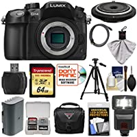 Panasonic Lumix DMC-GH4 4K Micro Four Thirds Digital Camera Body with 15mm Pancake Lens + 64GB Card + Battery + Case + Tripod + Flash + Kit Basic Intro Review Image