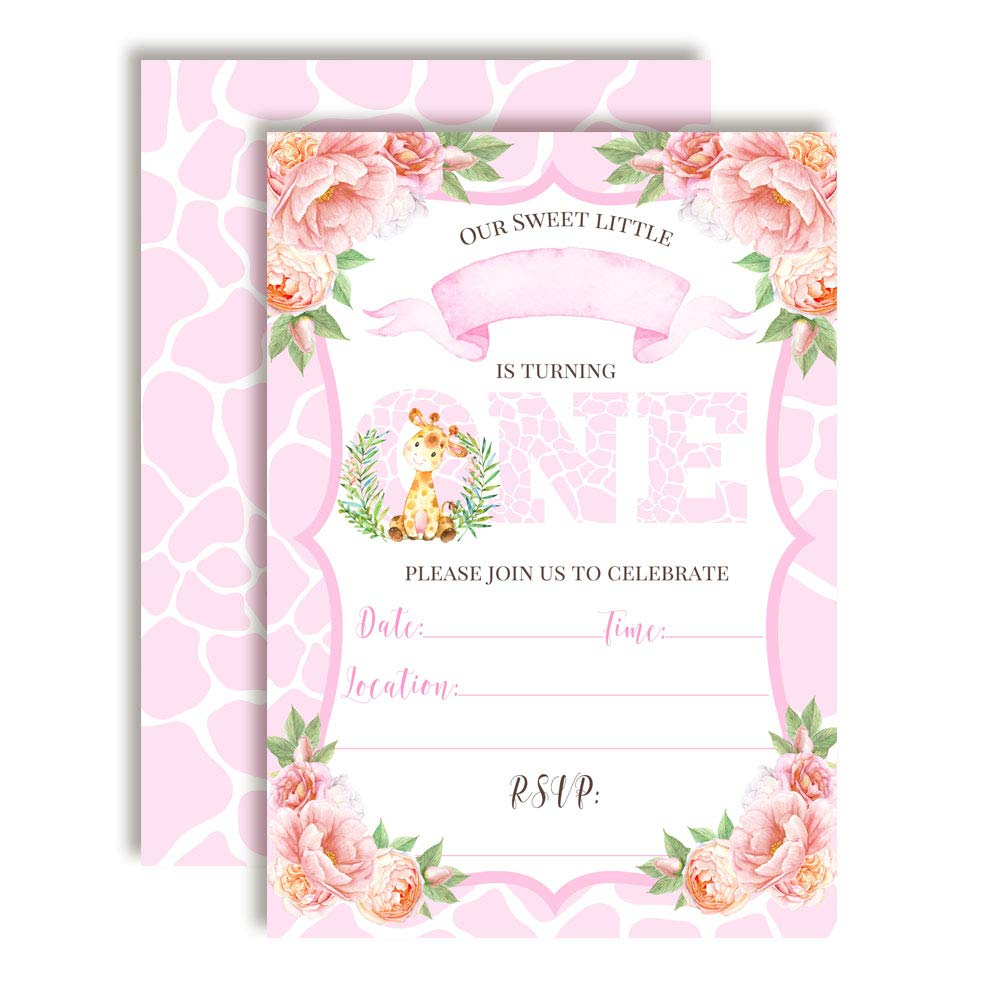 Watercolor Dahlia Floral Cute Giraffe First Birthday Party Invitations for Girls, 20 5''x7'' Fill in Cards with Twenty White Envelopes by AmandaCreation
