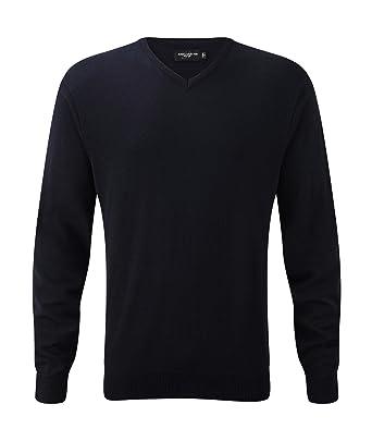 Glattgestrickter Pullover mit V-Ausschnitt - Farbe: French Navy - Größe: S
