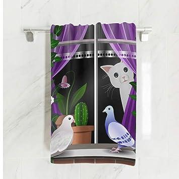Ahomy Toalla de baño para Gato, pájaro, Flor en la Ventana, Suave algodón Absorbente, Toalla de baño Grande para Hombres, Mujeres, niños: Amazon.es: Hogar