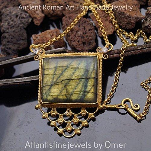 - Omer Handmade Unique 925 Fine Silver Labradorite Lace Necklace 24k Gold Vermeil Turkish Jewelry 47 cm