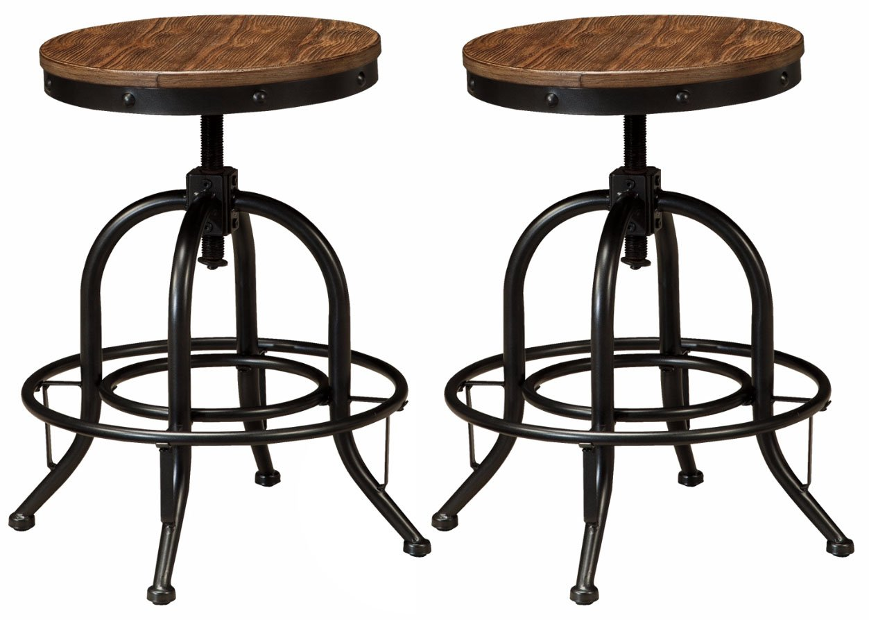Ashley Furniture Signature Design - Pinnadel Swivel Bar Stool - Counter Height - Set of 2 - Light Brown