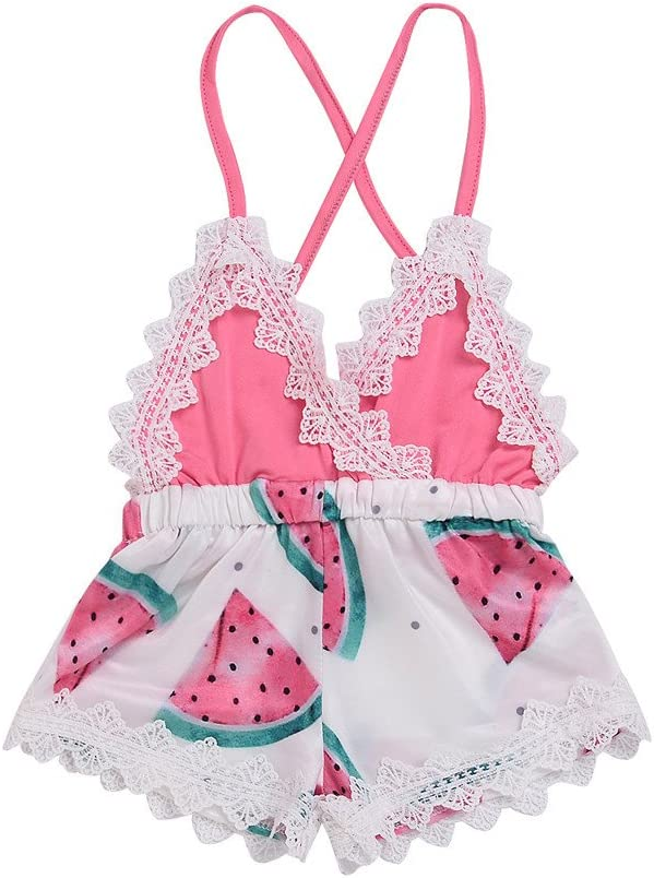 Baby-Girls One Piece Clothes Watermelon Print Lace Trim Romper Backless Jumpsuit Clothes Pink, 3-4 Years Old