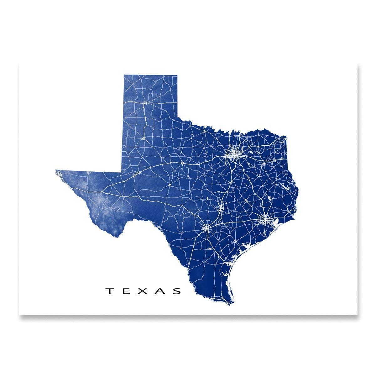Amazon Com Texas Map Art Print Tx State Wall Poster Usa Handmade