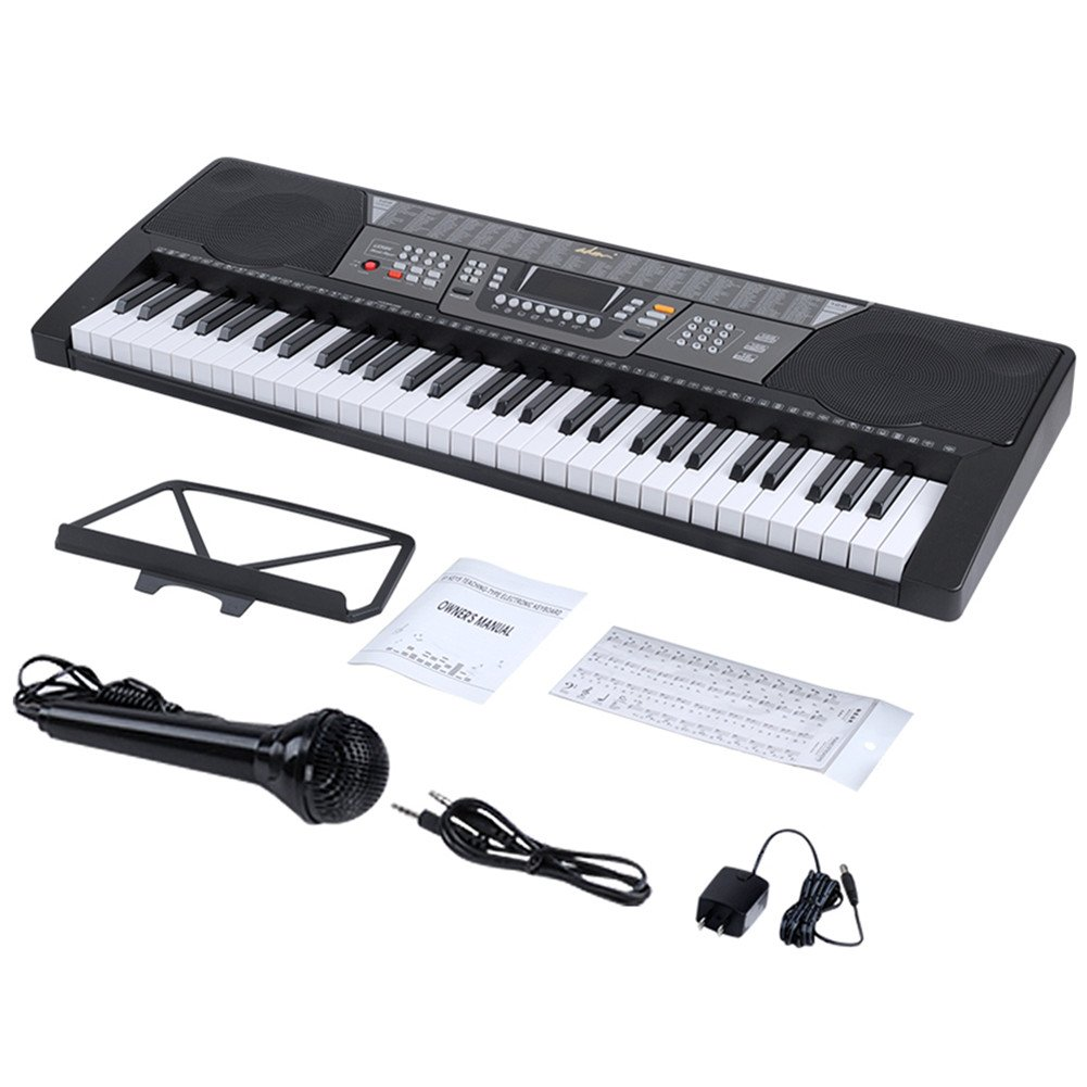 ADM 61 Key Electronic Keyboard Piano Beginner SuperKit with Microphone, Keyboard Sticker, Power Supply, Black by ADM