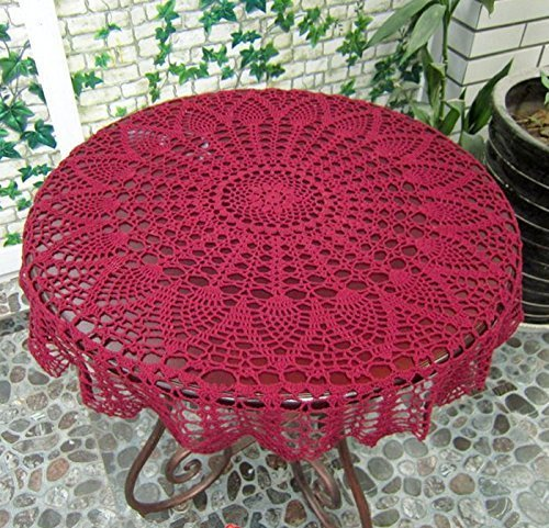 "Ustide New Burgandy 36"" Round Handmade Crochet Pineapple Flower Lace Tablecloth Doily'"