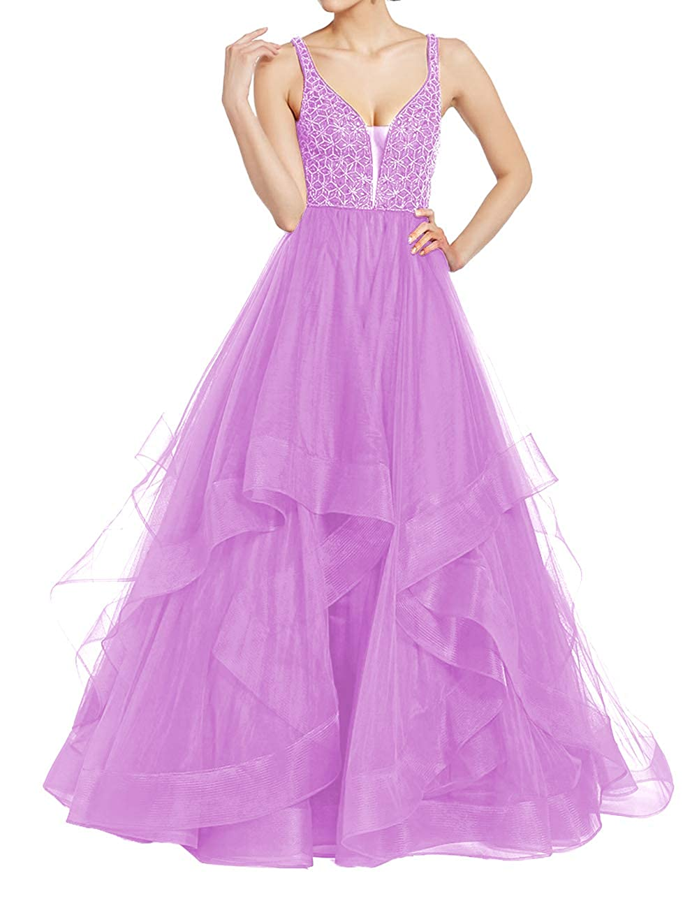 purplec Uther Elegant Tulle Evening Ball Gowns Long Beaded Formal Prom Party Dresses