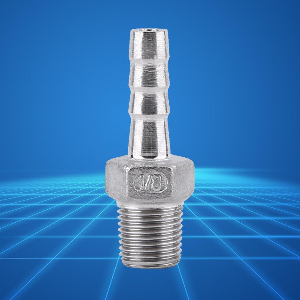 SS304 Conector de Cola de Manguera Racor de Tuber/ía Adaptador de Cola de Manguera de Acero inoxidable Rosca BSP Macho 1//4*12mm
