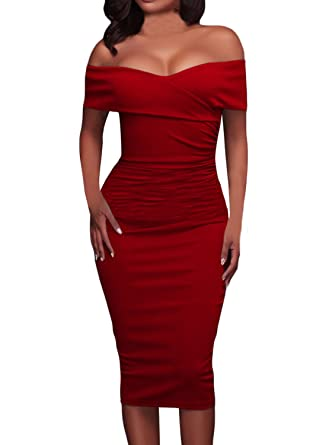 009bbb87e5f Amazon.com: AlvaQ Women's Summer Sexy Ruched Off Shoulder Bodycon Midi  Party Dress X-Large Red: Clothing