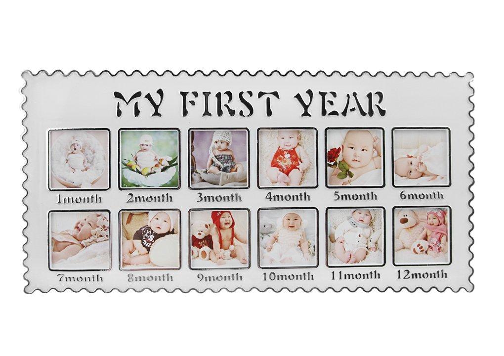 Marco de fotos beb/é mi Premiere a/ño cumplea/ños con 12/Im/ágenes de mesa para colgar o ni/ños conjunto de marco crecimiento /álbumes recuerdos precioso regalo para nacimiento Navidad bautizo
