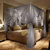 Four Poster Bed King Nattey 4 Corner Poster Princess Bed Curtain Canopy Mosquito Netting With Led Light (Queen, Gray)