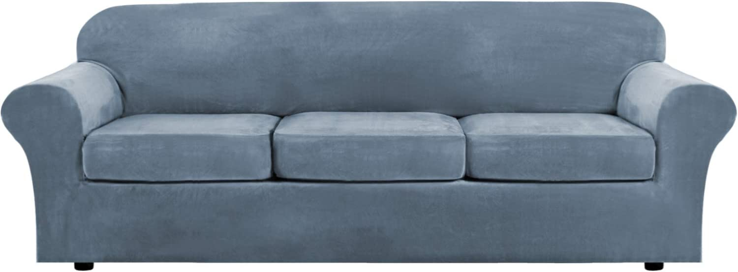 Modern Velvet Plush 4 Piece High Stretch Sofa Slipcover Strap Sofa Cover Furniture Protector Form Fit Luxury Thick Velvet Extra Large Sofa Cover for 3 Cushion Couch(XL Sofa, Stone Blue)