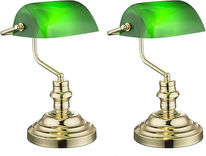 Globo Lighting 2491k Set Di 2 Lampade Da Tavolo In Stile Retro Vintage In Ottone Paralume In Acrilico Verde 2491k Amazon It Illuminazione