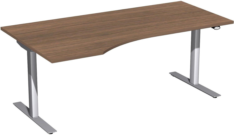 Geramöbel Elektro-Hubtisch links höhenverstellbar, 1800x1000x680-1160, Nussbaum/Silber