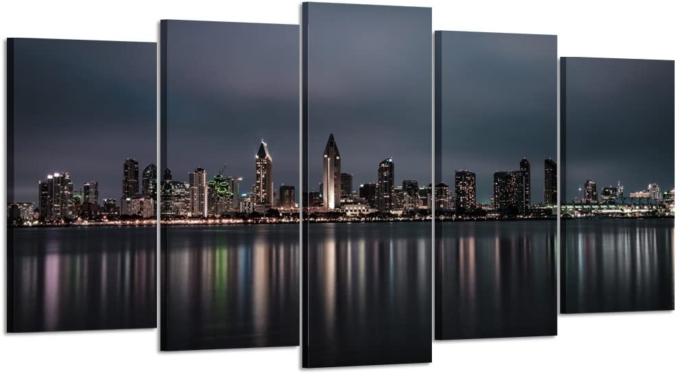 Kreative Arts Large 5 Panel Canvas Prints Night Skyline of San Diego Downtown California Wall Art Long Exposure Photographic Panorama Photo Picture Art Work for Home Walls (Large Size 60x32inch)