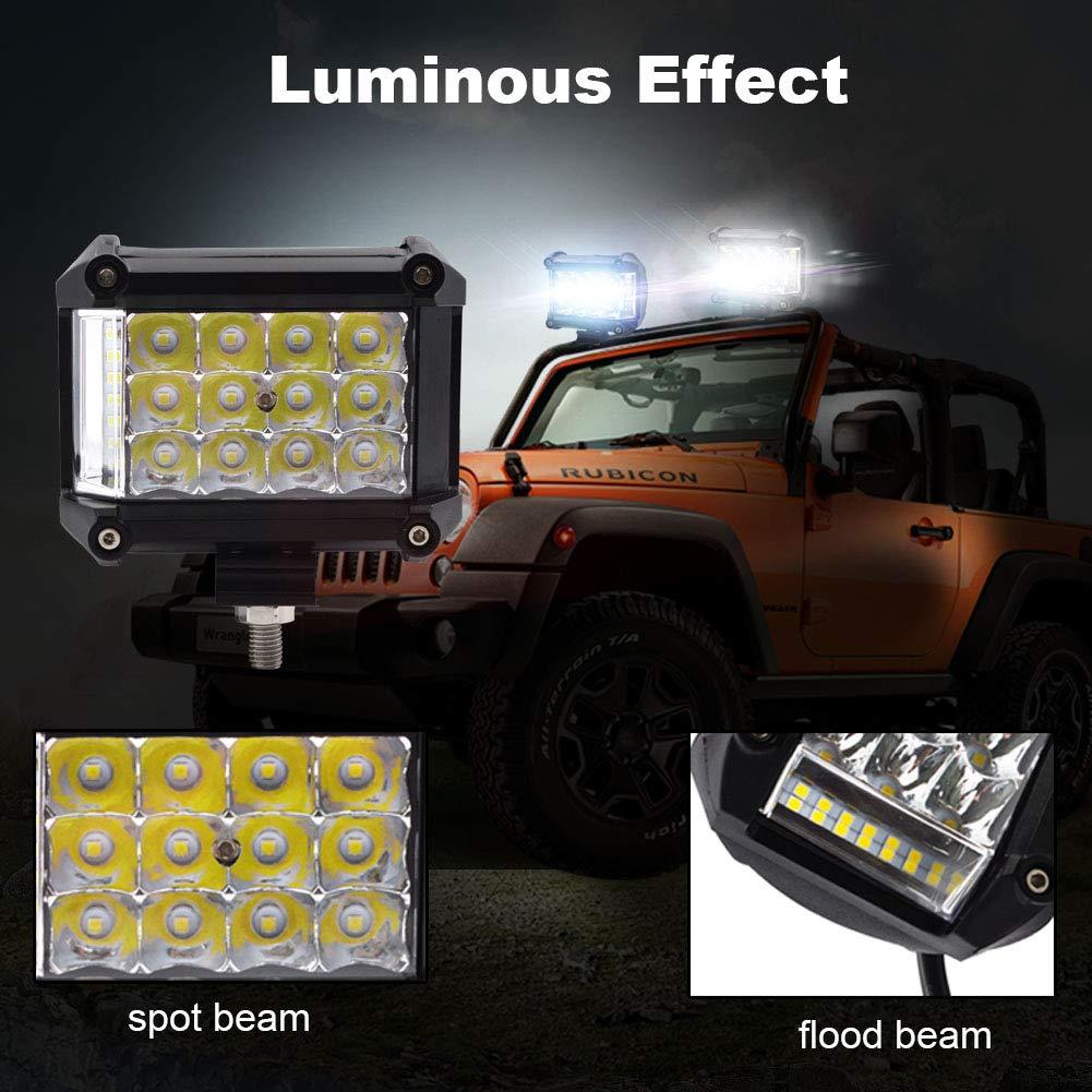 BeiLan LED Barre De Travail 48W Projecteur Led Antibrouillard 6500K imperm/éable Lampe Led Eclairage Led Spot Longue Port/ée 12V Feux Led Voiture SUV ATV Camion Bateau Tracteur