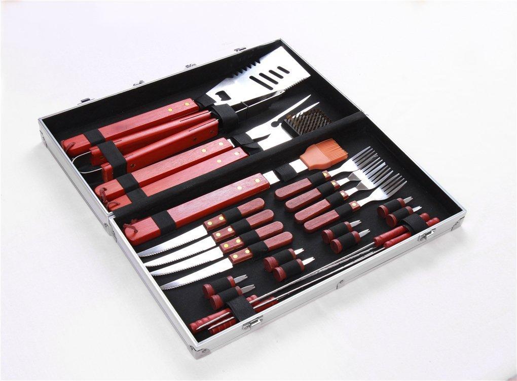 JasCherry 25-teilig Edelstahl Grillbesteck mit Aluminium Aufbewahrungskoffer, Erschwinglich Barbecue Grill Werkzeug Set Kit, Silber, Speicher-Box-Größe 60 x 30 x 10cm, Gewicht 2.2 kg