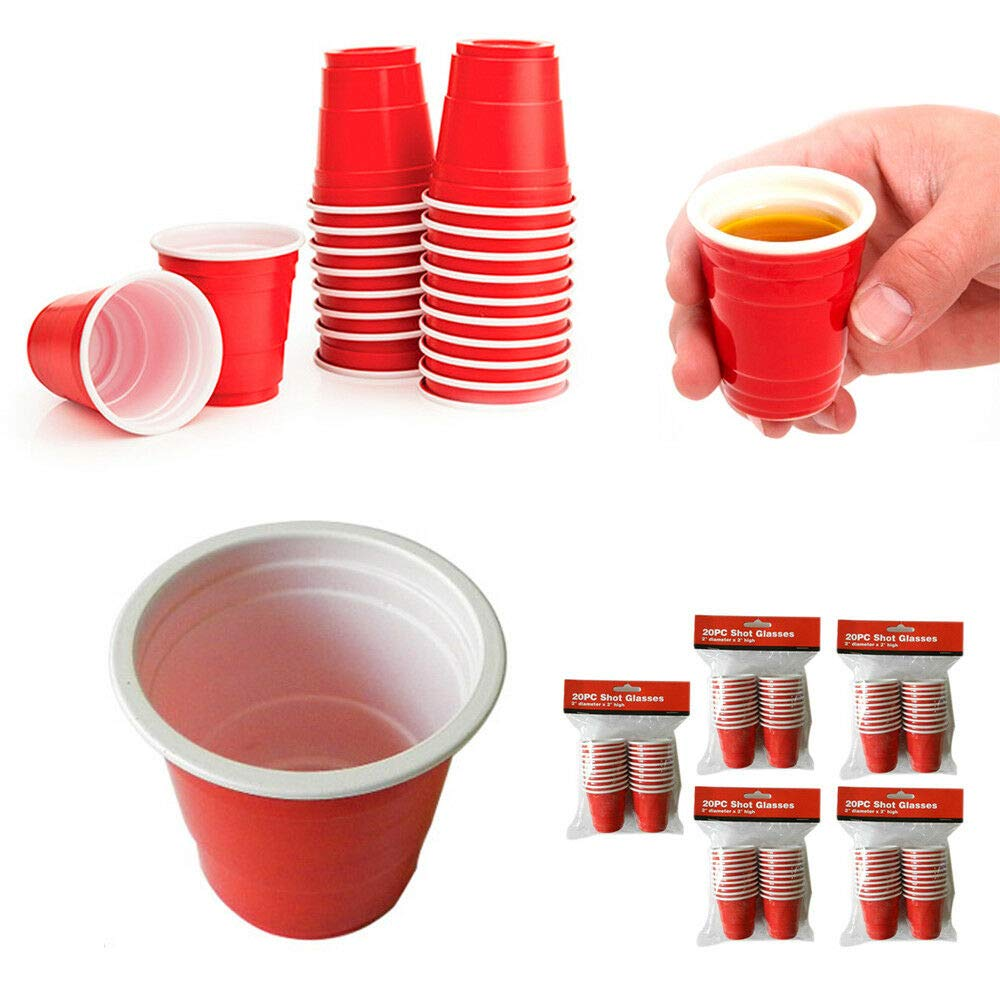 100 Mini Red Cups 2oz Plastic Shot Glasses Jello Jelly Drink Party Disposable by National Limited Shop