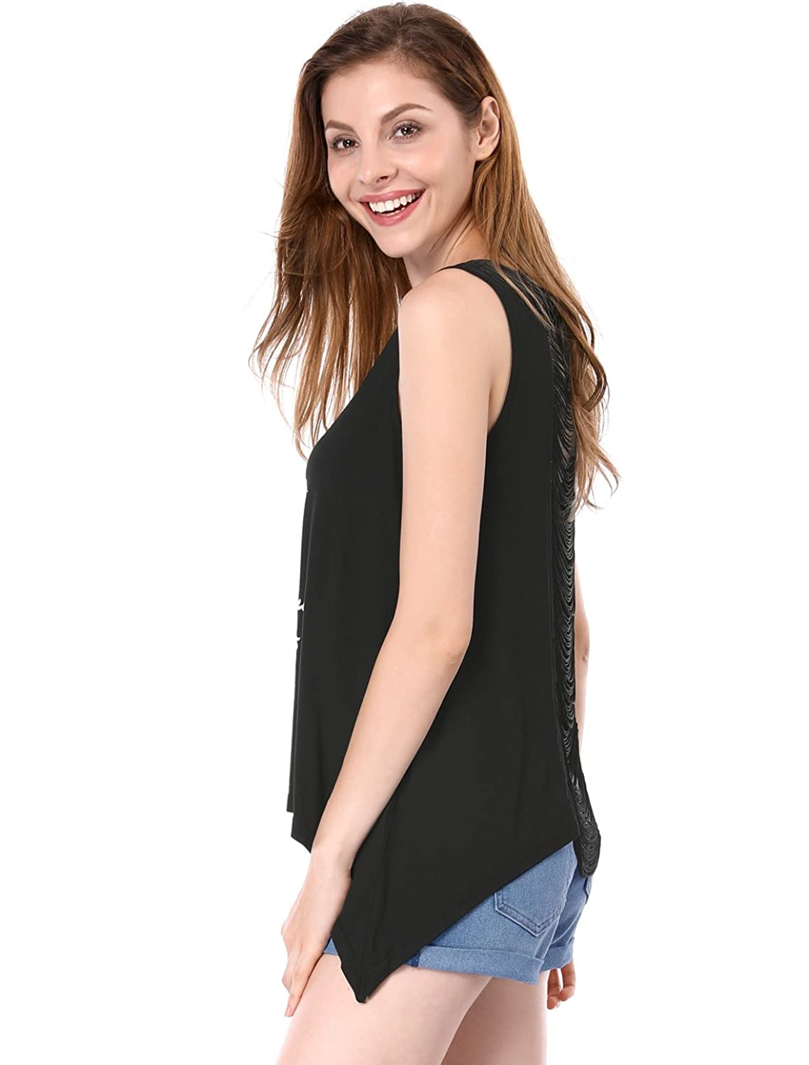 Allegra K Women Skull Tassels Open Back Hanky Hem Sexy Tank Tops:  Amazon.co.uk: Clothing