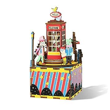 Arte de Madera DIY Kit de Caja de música Puzzle Mecanismo Caja Musical Cumpleaños Creativo Cabina telefónica Waltz: Amazon.es: Juguetes y juegos