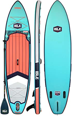 """ISLE Explorer (2019 Model) Inflatable Stand Up Paddle Board & iSUP Bundle Accessory Pack — Durable, Lightweight with Stable Wide Stance — 300 Pound Capacity, 11' Long, 6"""" Thick"""