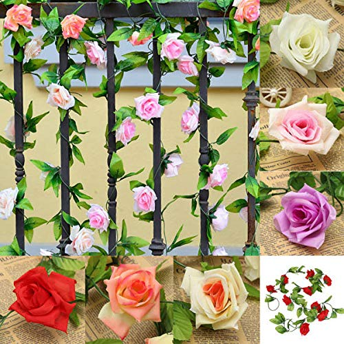 Garden Landscaping & Decking Artificial Plants & Animals - 2.4m Artificial Plastic Rose Flower Green Leaves Home Garden Wedding Party Decoration - Pink - 5 x Wool Felting Needles