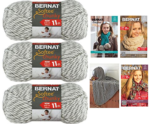Softee Chunky Yarn Bundle with free pattern for scarves and blanket. (3pk) (Grey (Free Knitting Patterns Chunky)