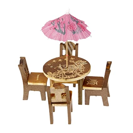 BESTIM INCUK 1 Set Miniature Fairy Garden Mini Wooden Furniture Set Table Chairs