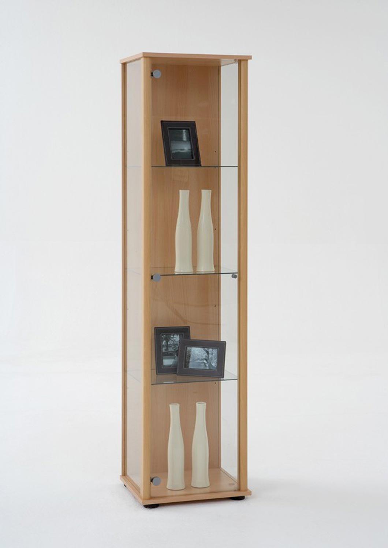 AVANTI TRENDSTORE - Bora - Vetrina con 3 ripiani in vetro, corpo in legno laminato, disponibile in 2 diversi colori, dimensioni: LAP 42x171x36 cm (Marrone)