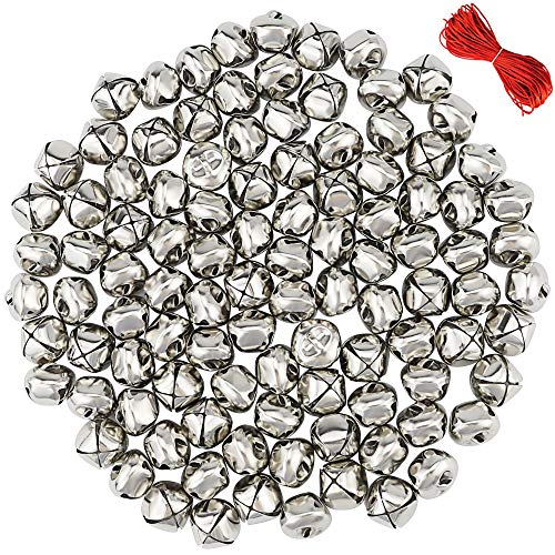 Silver Jingle Bells (Outuxed 100Pcs 1 Inch Sliver Jingle Bells Christmas Craft Bells for Festival Decoration with 20m Red)