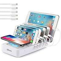 ALLCACA 5 USB Ports and 1 Qi Wireless Charging Pad Station
