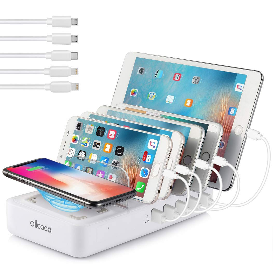 ALLCACA Wireless Charging Station for Multiple Devices - Fast Charging Dock Organizer with 5 USB Ports and 1 Qi Wireless Charging Pad for iPhone, ipad, Samsung, Android Phone, Tablet