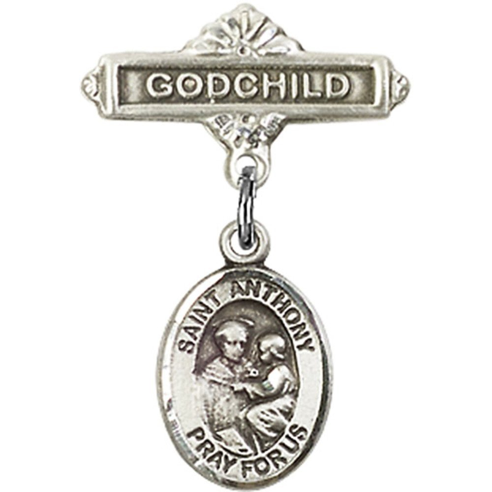 Sterling Silver Baby Badge with St. Anthony of Padua Charm and Godchild Badge Pin 1 X 5/8 inches