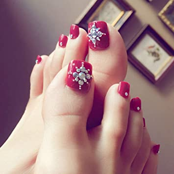 Amazon.com : 24 PCS Women Ladies Home Salon ABS Artificial False Toenails Wine Red Diamonds Toe Nail Art Tips Decoration : Beauty