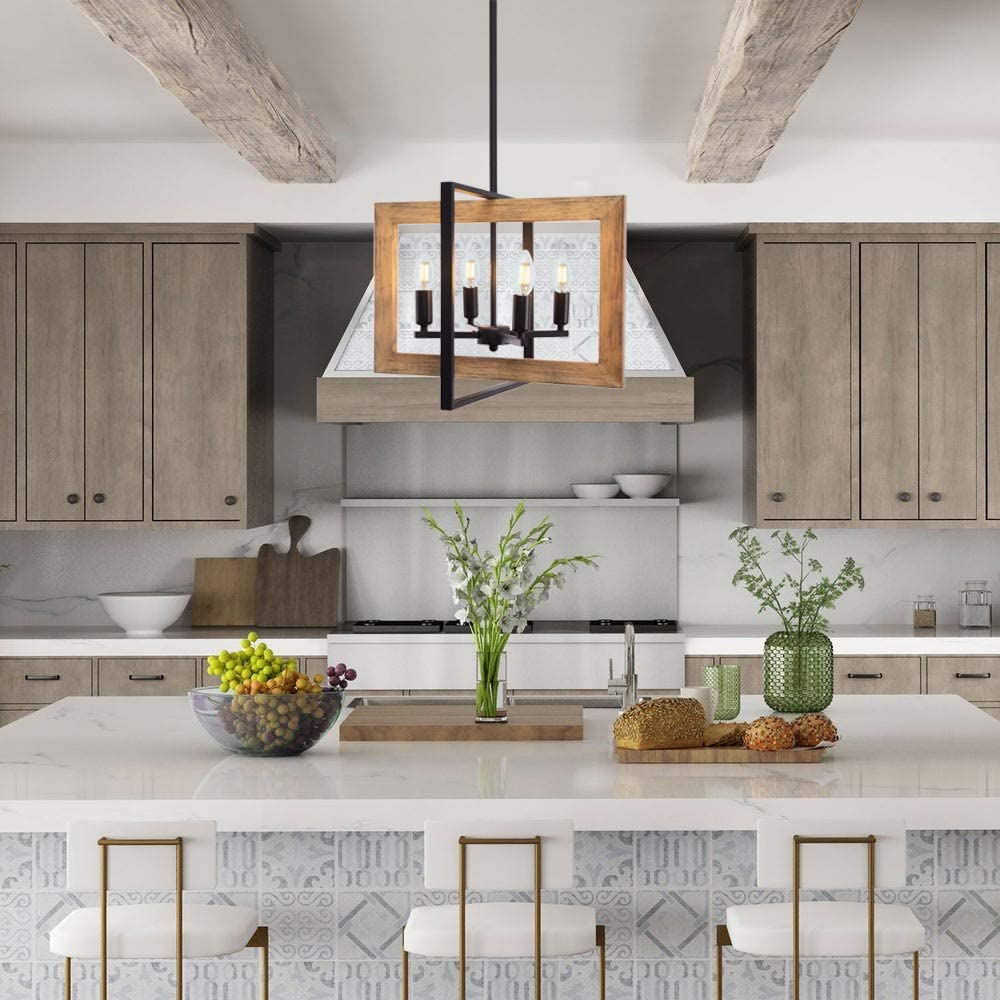 Rustic Chandelier Kitchen Island Foyer Entry Pendant Light In Distressed Wood And Black Metal Finish Wellmet Farmhouse Dining Room Lighting Fixtures Hanging 4 Light Island Lights Tools Home Improvement Sailingschool Pl
