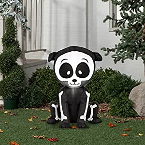 Airblown Inflatable Halloween Friendly Skeleton Puppy 3' tall lighted yard decoration