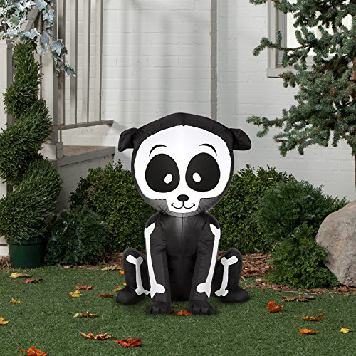 Airblown Inflatable Halloween Friendly Skeleton Puppy 3' tall lighted yard -