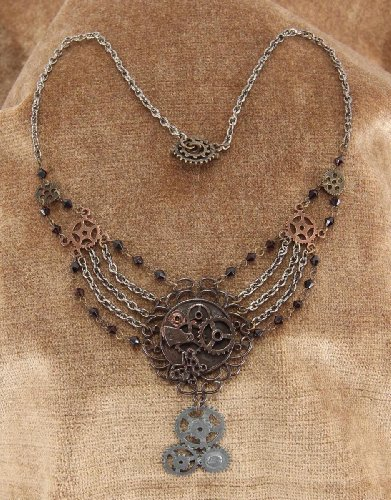 Elope Women's Steampunk Gear Chain Antique Necklace (Steam Punk Halloween Costumes)