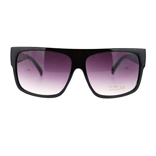 aa53bf76091e6f Unisex Mobster Flat Top Rectangular Metalic Animal Print Sunglasses Black
