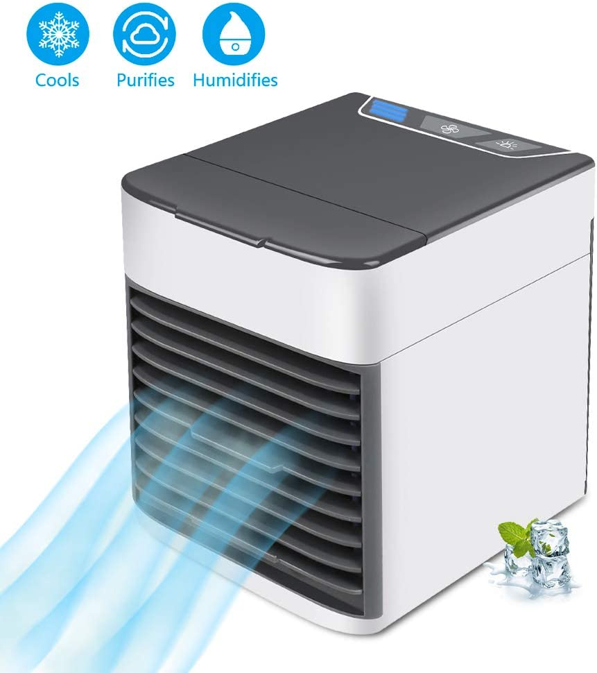 Portable Air Conditioner Fan, Air Cooler, Humidifier and Purifier 3-in-1 USB Desktop Air conditioner with Waterbox, 7 Color LED Night Light and 3 Fan Speed for Office Home Travel