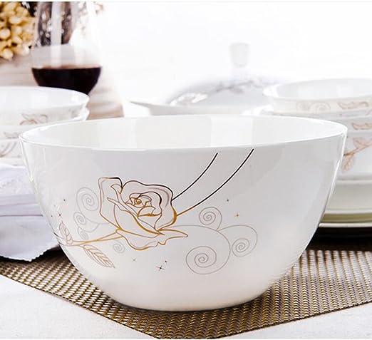 Cuenco de sopa de cerámica de 8 pulgadas Cuenco de sopa Utensilios para el hogar Tazón de fuente de ramen 2 PC/juego Enviar Cuchara (Color : A): Amazon.es: Hogar