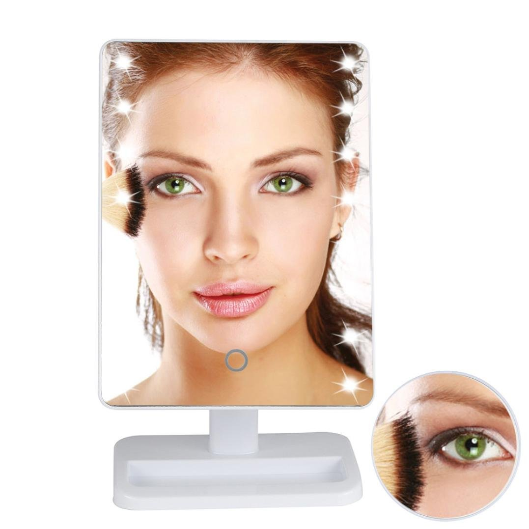 LED Makeup Mirror ,Tuscom@ 10X Magnifie Lighted Makeup Mirror 20 LED Touch Screen Cosmetic Vanity Mirror (White)